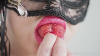 Fruit crushing video featuring Dominatrix Countess Von Kink in foot fetish